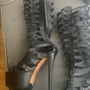 Knee high caged platform sandals